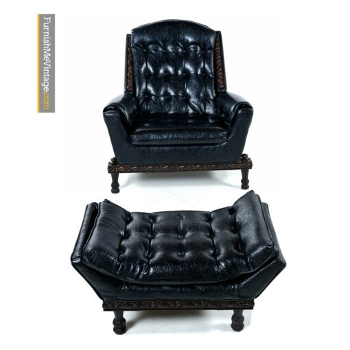 gothic mediterranean leather lounge chair