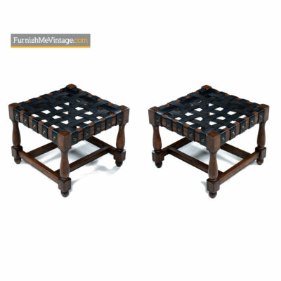 gothic oak leather ottomans