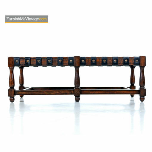 gothic oak leather stap bench