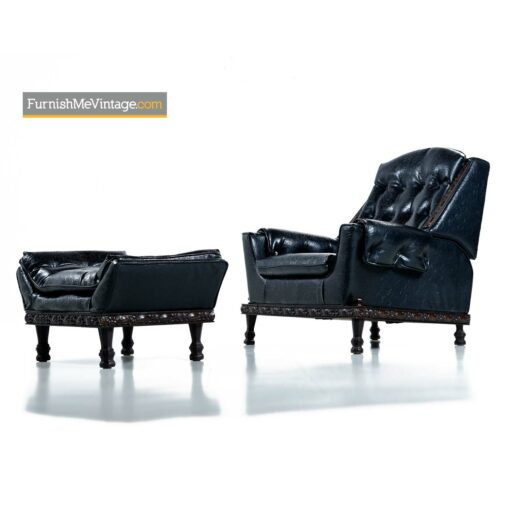 gothic retro tufted leather recliner