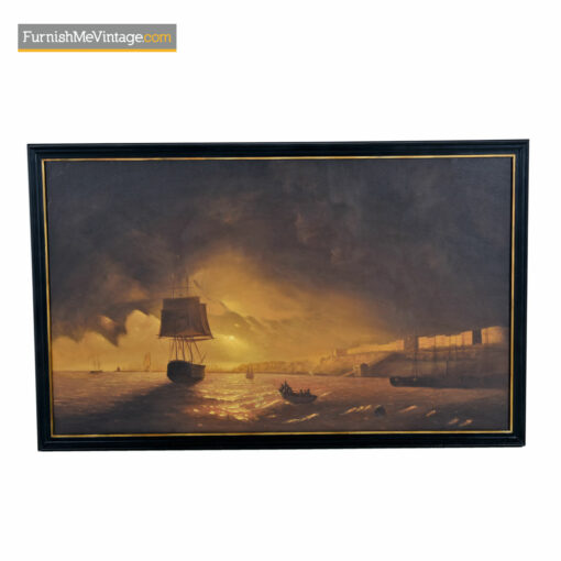 harbor sunset oil painting