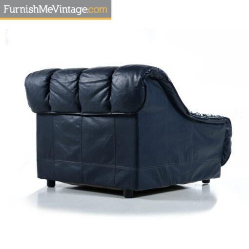 italian blue leather armchair