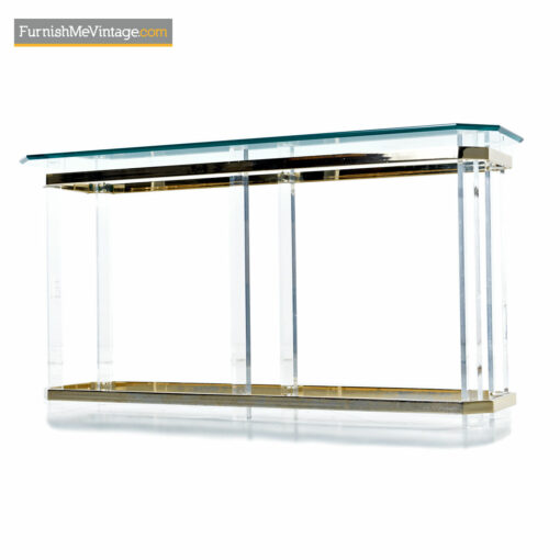 lucite brass glass console table
