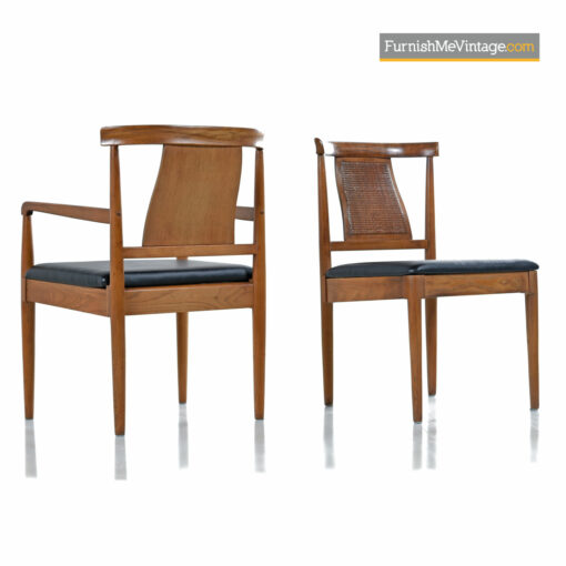 caned mid-century modern dining chairs