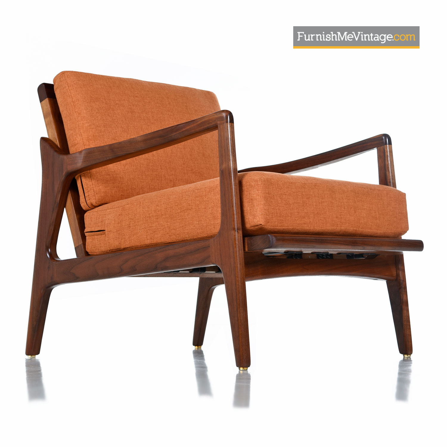 Fantastic Orange Solid Walnut Exceptional Mid Century Modern Arm Chair Spiritservingveterans Wood Chair Design Ideas Spiritservingveteransorg