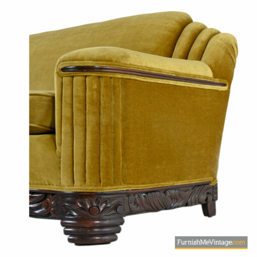 mustard mohair art deco couch