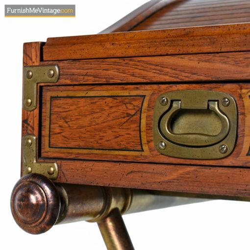 vintage campaign desk brass handles