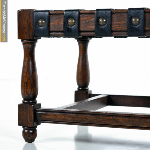 vintage gothic leather strap bench