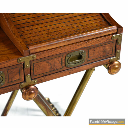 wood brass roll top campaign desk