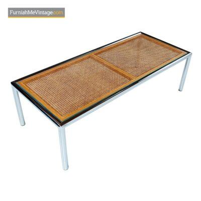 1970s chrome cane glass coffee table