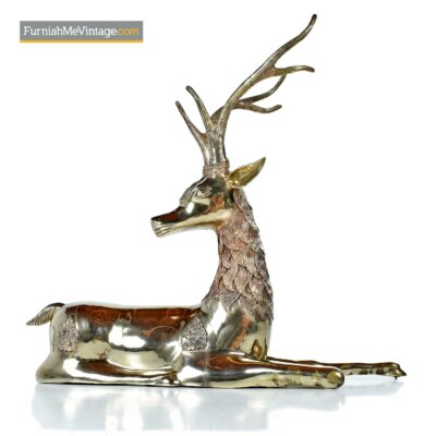 Sarreid vintage brass seated deer