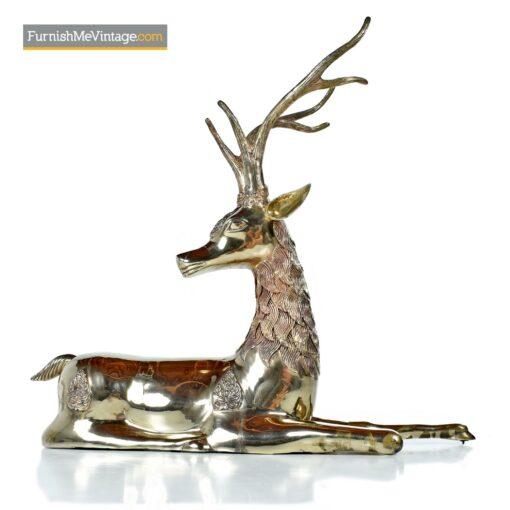 Sarreid vintage brass seated deer