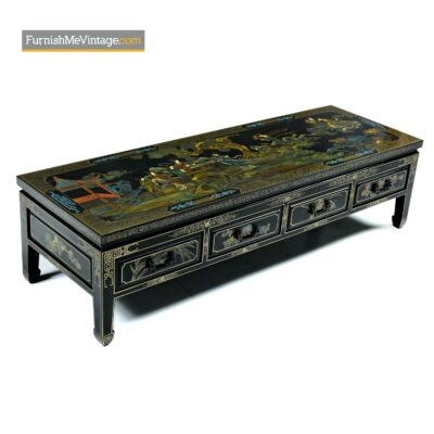 black lacquer chinoiserie coffee table