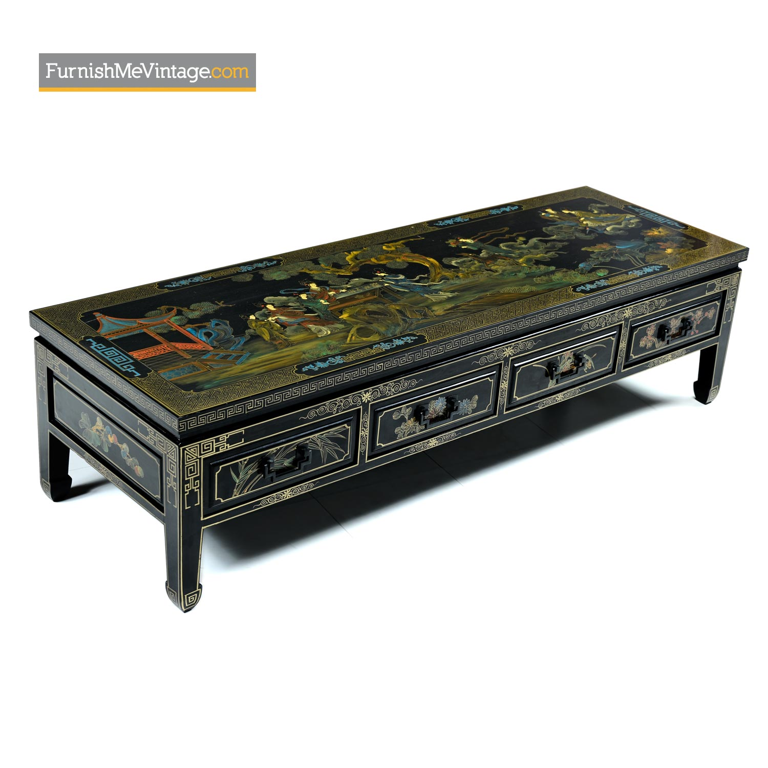 James Mont Style Gilt Black Lacquer