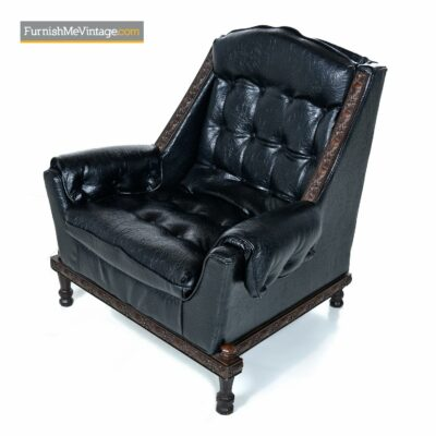 black leather gothic lounge chair