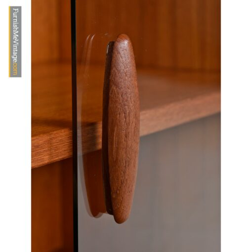 danish modern glass teak hutch