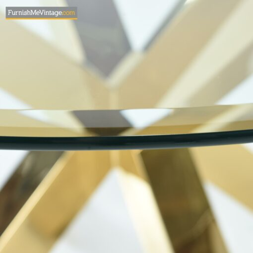 gold aluminum glass top dining table