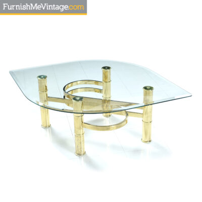 gold coffee table leaf shape glass