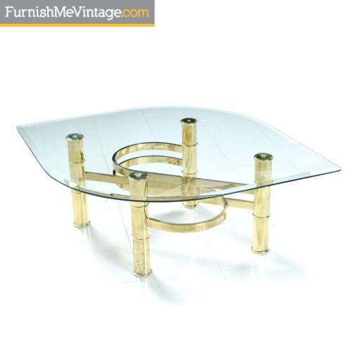 gold coffee table leaf shape glass