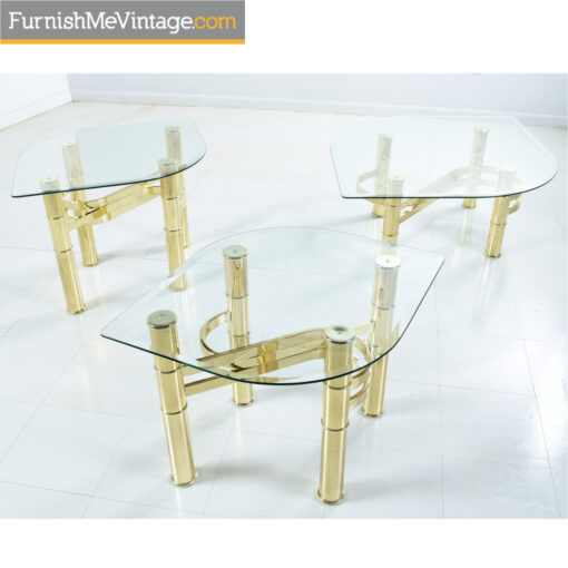 gold occasional tables leaf glass