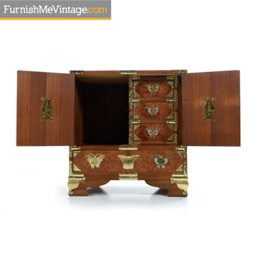 gold teak chinese nightstand