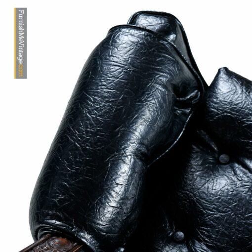 gothic mediterranean black leather armchair