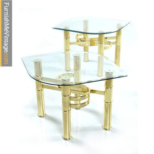 leaf shaped gold end tables