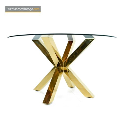 mid century gold brass modern dining table