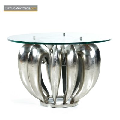 modern brutalist chrome coffee table