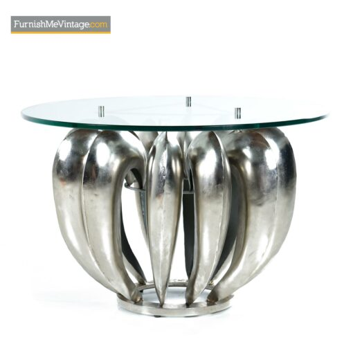 modern brutalist chrome coffee table