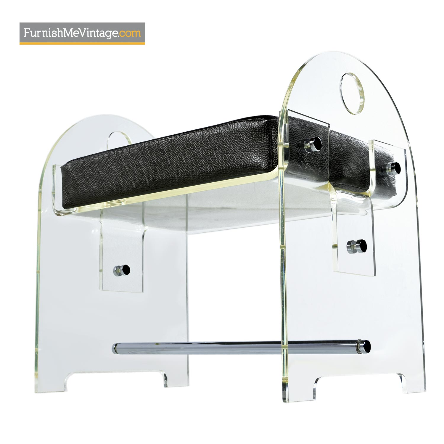 Lucite Vanity Bench With Faux Snakeskin Upholstery