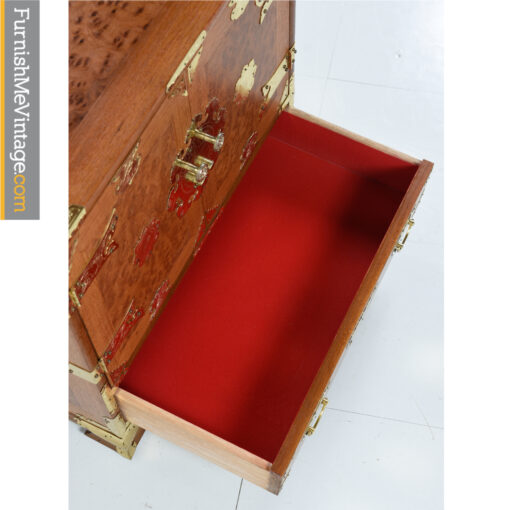 red burl teak gold asian cabinet