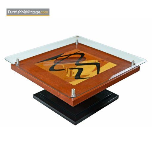 rosewood inlay modern coffee table