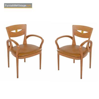 scandinavian modern beech armchairs