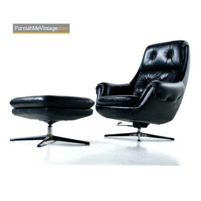 tufted black pod chair