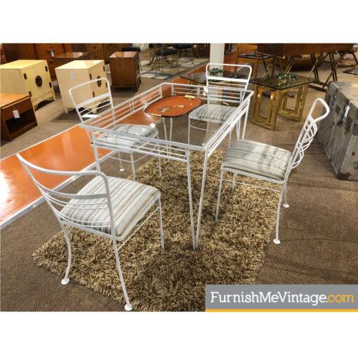 white wrought iron patio set