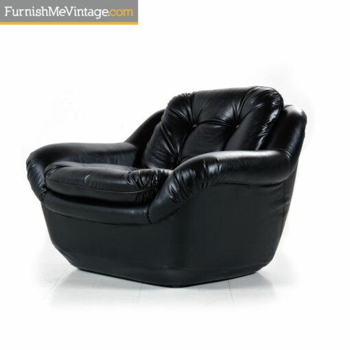 1970s tufted black armchair