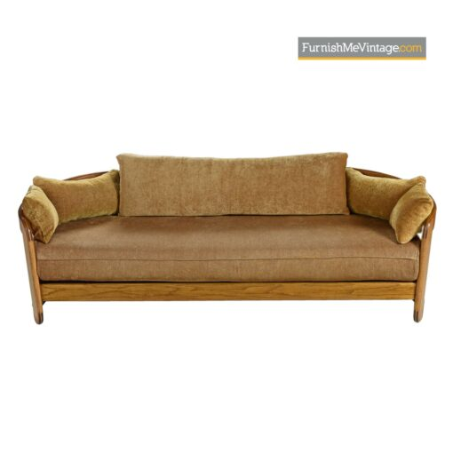 1980s solid oak modern couch