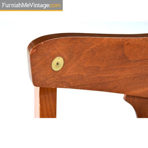 american of martinsville brass walnut chair
