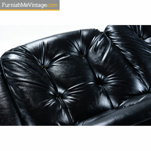black tufted mid century couch