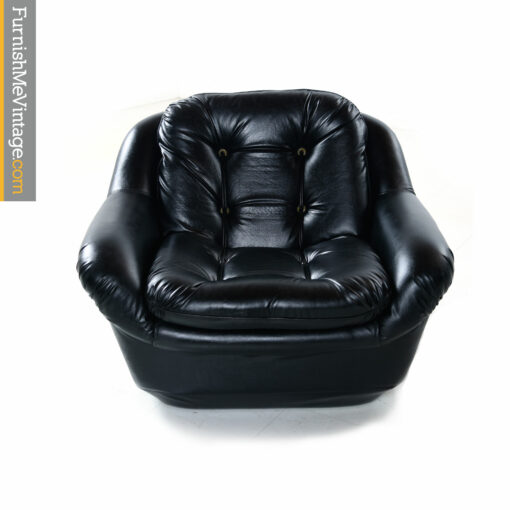 black vintage tufted armchair rope buttons