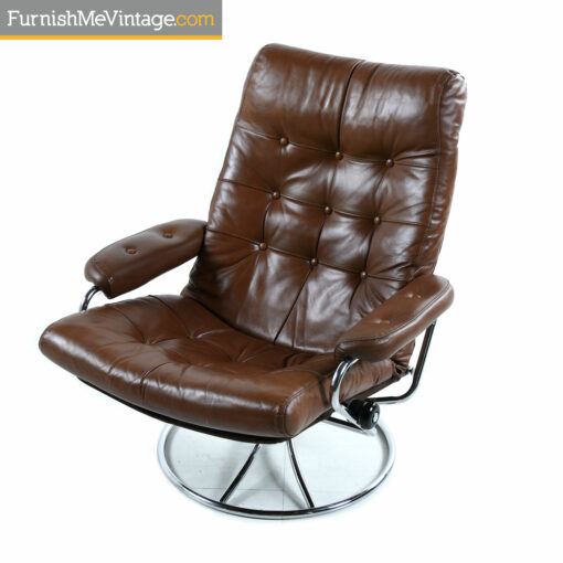 brown ekornes chrome recliner