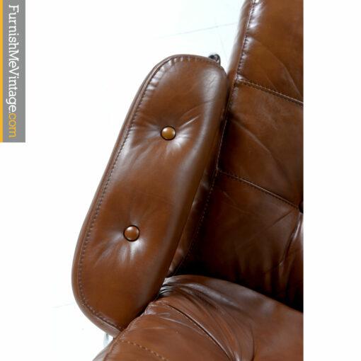 chrome leather scandinavian recliner