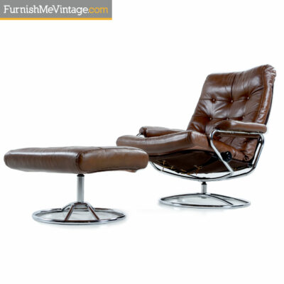 chrome scandinavian brown leather recliner