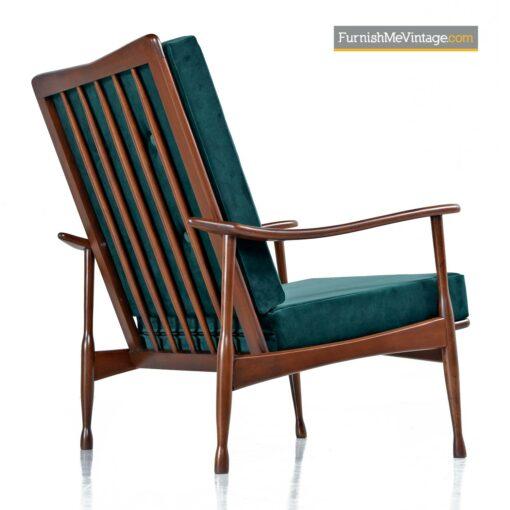 danish modern green velvet armchair