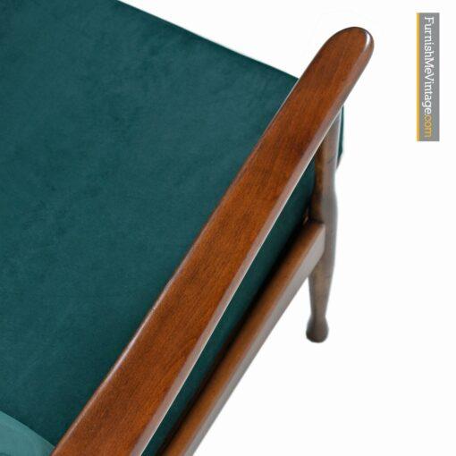 green velvet danish modern lounge chair