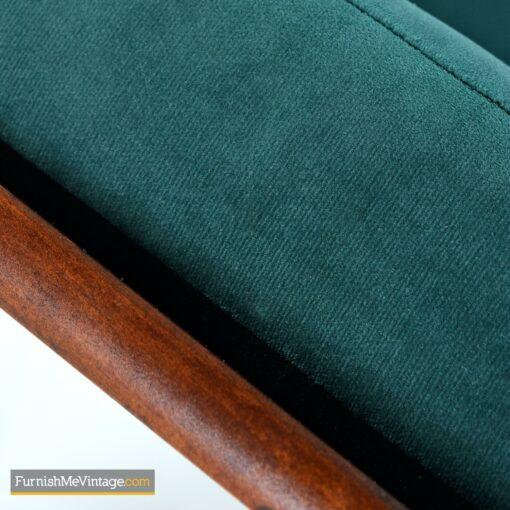 green velvet modern armchair