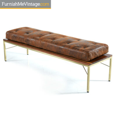 leather gold walnut bench