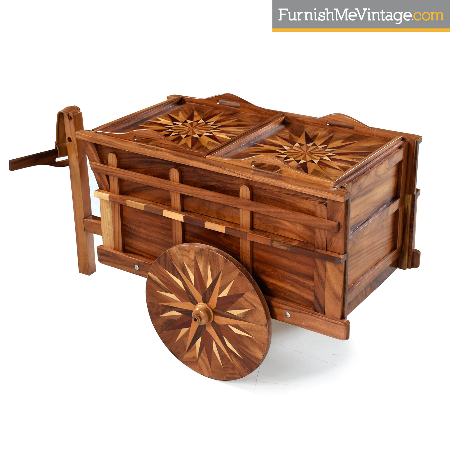 Handcrafted Wagon Bar Cart With Intricate Wood Inlay Marquetry