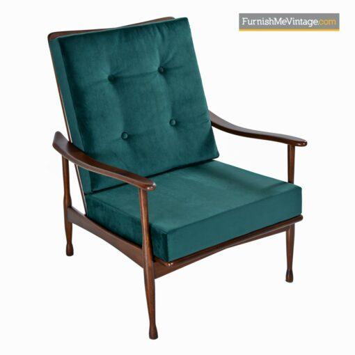 mid century modern armchair green velvet